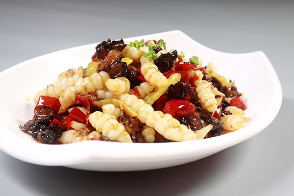 宝塔菜炒螺丝肉